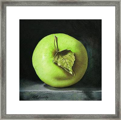 Green Apple With Leaf Framed Print by Marna Edwards Flavell