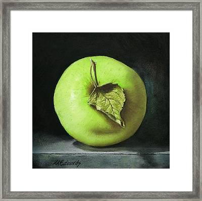Green Apple With Leaf Framed Print