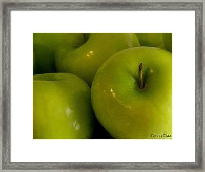 Green Apples 2 Framed Print by Fanny Diaz