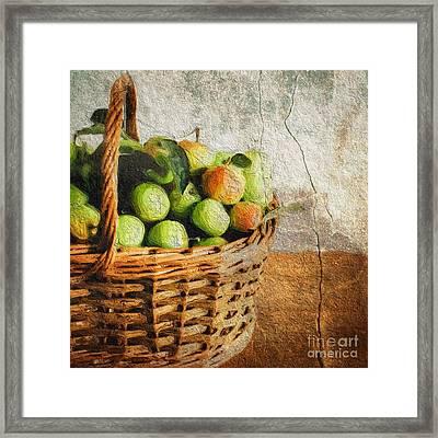 Green Apples In A Basket Framed Print