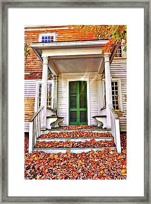 Green Autumn Door Framed Print