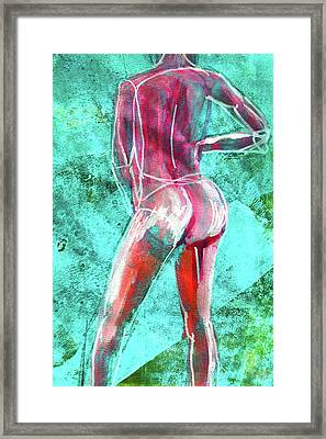 Framed Print featuring the painting Green Back Figure No. 4 by Nancy Merkle