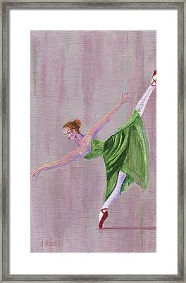 Framed Print featuring the painting Green Ballerina by Jamie Frier