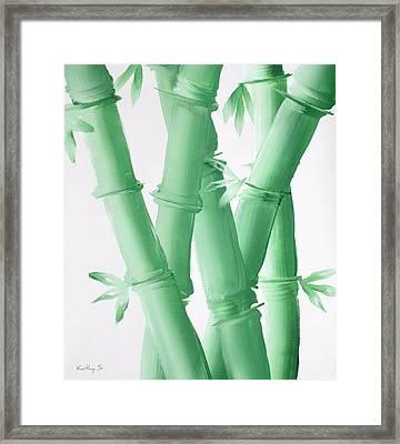 Green  Bamboo Framed Print by Kathy Sheeran