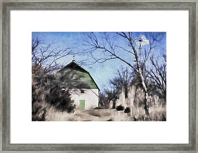 Green Barn Framed Print