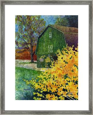 Green Barn Framed Print by Hailey E Herrera