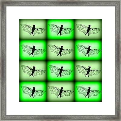 Green Bats Framed Print by Cathy Jacobs