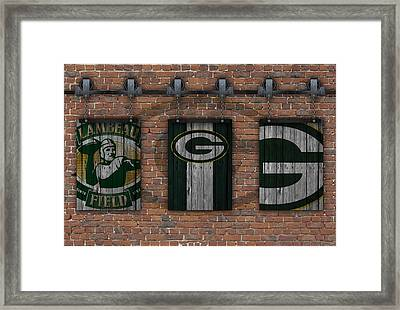 Green Bay Packers Brick Wall Framed Print