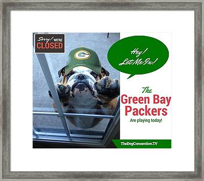 Framed Print featuring the digital art Green Bay Packers by Kathy Tarochione
