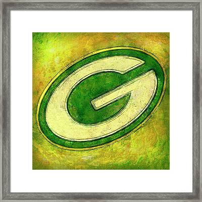 Green Bay Packers Logo Framed Print by Jack Zulli