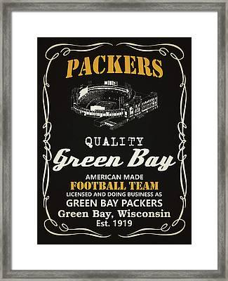 Green Bay Packers Whiskey Framed Print by Joe Hamilton