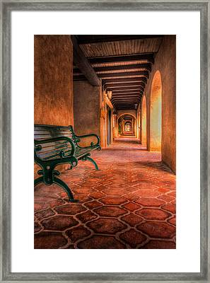 Green Bench And Arches Framed Print