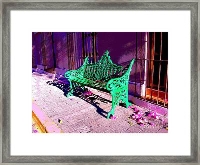 Green Bench By Michael Fitzpatrick Framed Print by Mexicolors Art Photography