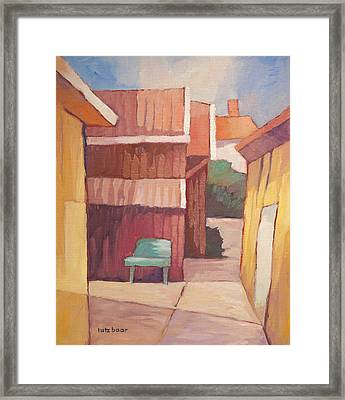 Green Bench Framed Print by Lutz Baar