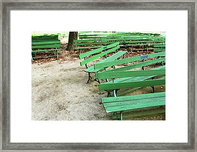 Green Benches- Fine Art Photo By Linda Woods Framed Print
