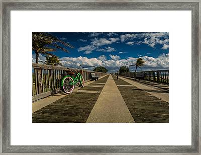 Green Bike At The Beach Framed Print