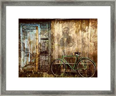 Green Bike Crooked Door Framed Print by Bellesouth Studio