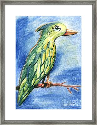 Green Bird Pastel Chalk Drawing Framed Print