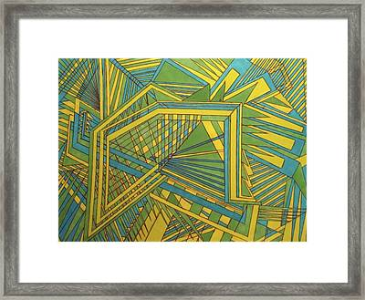 Green Blue Yellow Framed Print by Modern Metro Patterns and Textiles