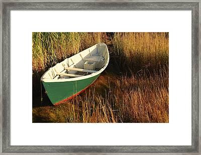 Green Boat Framed Print by AnnaJanessa PhotoArt