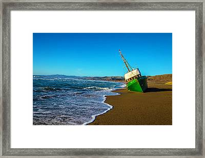 Green Boat At Low Tide Framed Print by Garry Gay