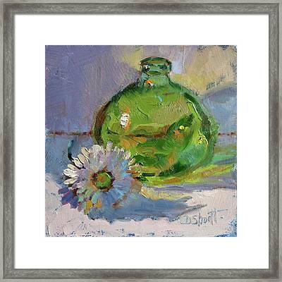 Green Bottle Framed Print by Donna Shortt