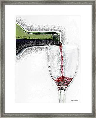 Green Bottle Red Wine Framed Print