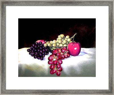 Green Bowl With Fruit Framed Print by Mahto Hogue