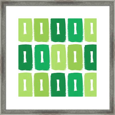 Green Boxes- Art By Linda Woods Framed Print by Linda Woods