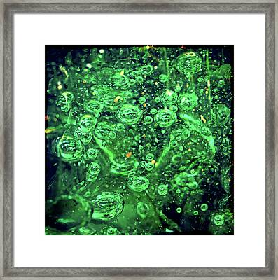 Green Bubbles Floating Framed Print