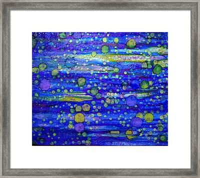 Green Bubbles In A Purple Sea Framed Print