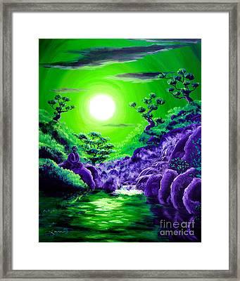 Green Buddha Meditation Framed Print by Laura Iverson