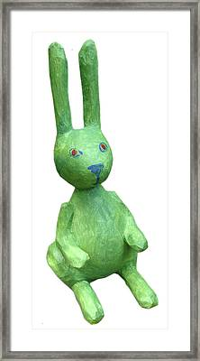 Green Bunny Framed Print by Maria Rosa