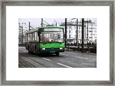 Green Bus On The Galata Framed Print by John Rizzuto