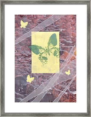 Green Butterfly Framed Print by Jennifer Bonset