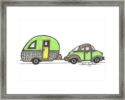 Green Car And Trailer Framed Print