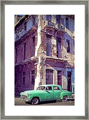 Green Car - Havana Cuba Framed Print by Chris Andruskiewicz