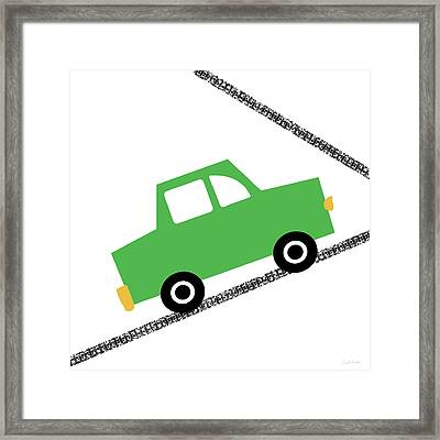 Green Car On Road- Art By Linda Woods Framed Print