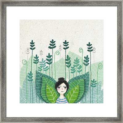 Green Framed Print by Carolina Parada