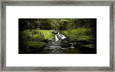 Green Cascade Framed Print by Peter Prue