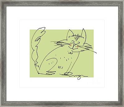 Green Cat Framed Print