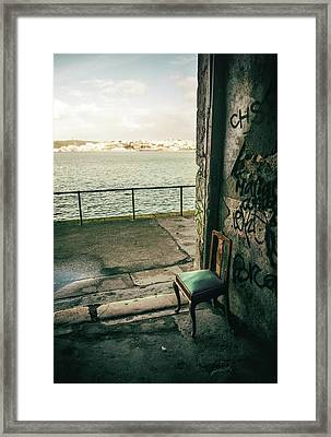 Green Chair By A Green River Framed Print