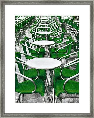 Green Chairs In Venice Framed Print by Mel Steinhauer