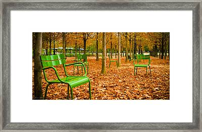 Green Chairs Framed Print