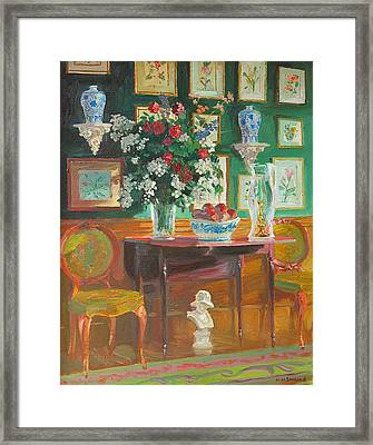 Green Chairs Framed Print by William Ireland