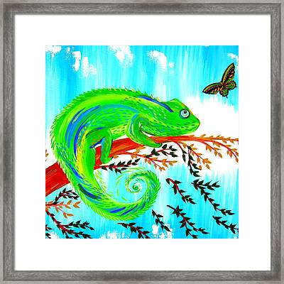 Green Chameleon Framed Print by Cathy Jacobs