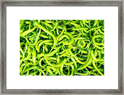 Green Chili Peppers Framed Print