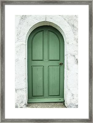 Green Church Door Iv Framed Print by Helen Northcott