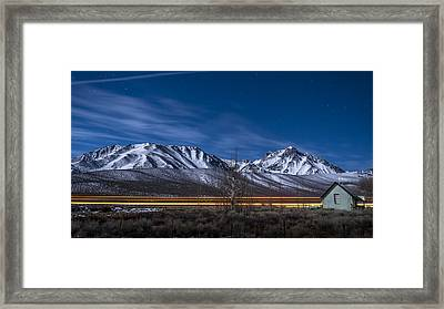 Green Church Under A Snow Moon Framed Print by Cat Connor