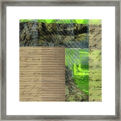 Green Collage No. 6 Framed Print by Nancy Merkle